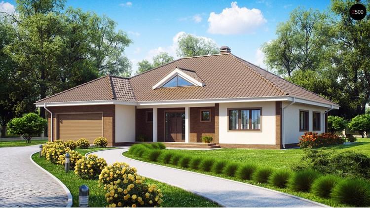 Проект одноэтажного дома с фронтальным гаражом для двух автомобилей - Z26