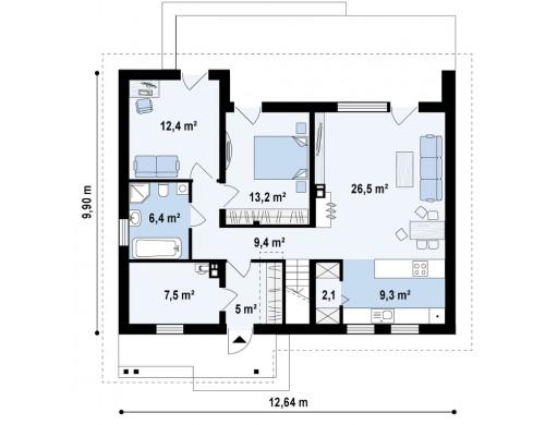 Проект дома Z261 с мансардой. Две дополнительные комнаты на первом этаже и большое хозяйственное помещение.