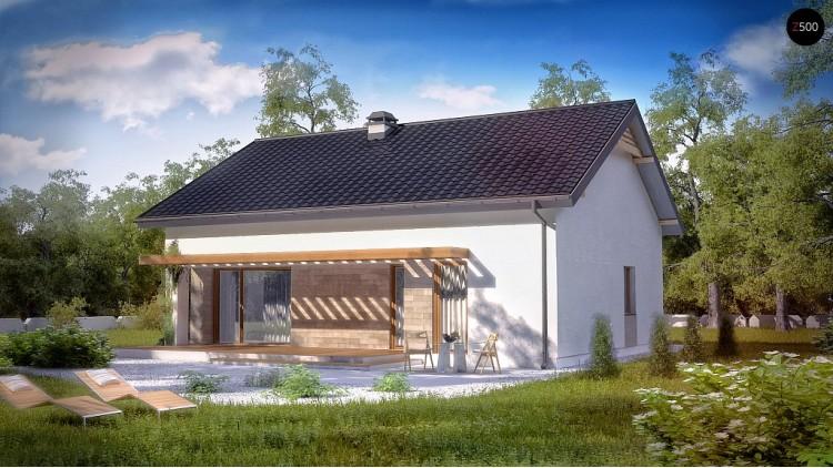 Проект небольшого практичного одноэтажного дома. Есть возможность обустройства чердачного помещения - Z261