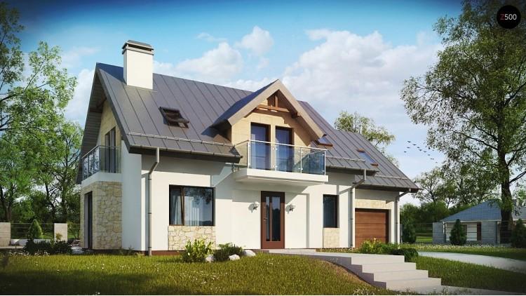 Проект стильного современного дома с пятью спальнями и гаражом - Z263