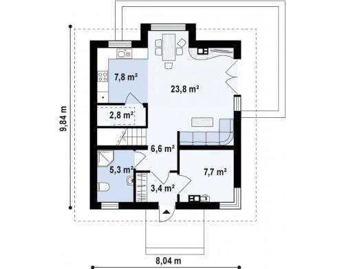 Проект Z265 Элегантный дом с мансардой, с кухней со стороны сада и эркером в обеденной зоне.  Проекты домов и гаражей