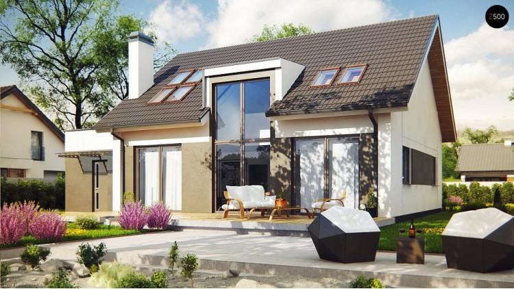 Проект дома с витражом оригинальным остеклением в гостиной и антресолью - Z266