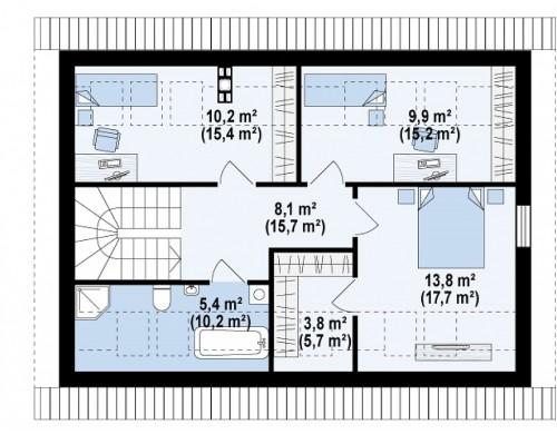 Проект Z267 Проект функционального энергоэффективного дома с мансардой.  Проекты домов и гаражей