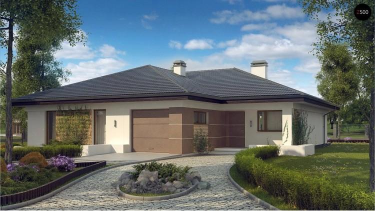 Проект одноэтажного дома с многоскатной крышей и гаражом на одну машину - Z268