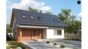 Проект Z269 Аккуратный функциональный дом с мансардой и гаражом.  Проекты домов и гаражей