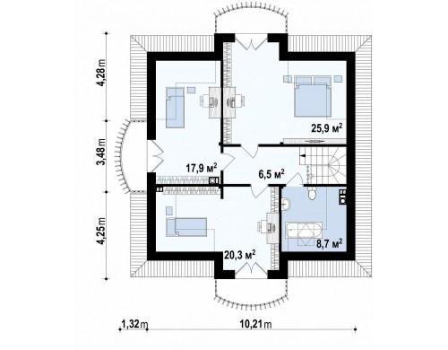 Проект дома в классическом стиле с мансардой - Z27