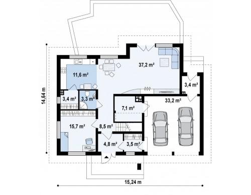 Просторный дом с большими мансардными окнами, с гаражом для двух автомобилей - Z272