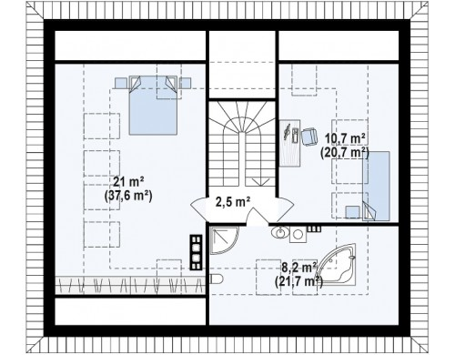 Проект Z273 Ph+ st Версия проекта Z273 с жилой мансардой, с увеличенной высотой аттиковой стены.  Проекты домов и гаражей