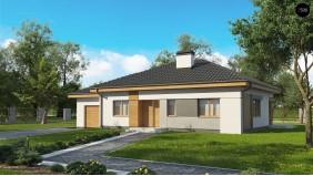 Проект Z273 a L GL Увеличенная версия проекта Z273 с гаражом, пристроенным слева.  Проекты домов и гаражей