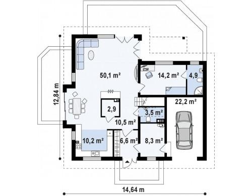 Проект дома в традиционном стиле L-образной формы с гаражом и мансардным окном - Z275