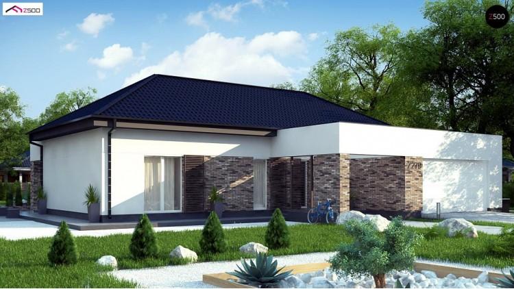 Проект Z277 Одноэтажный дом с четырехскатной кровлей с открытой гостиной  Проекты домов и гаражей