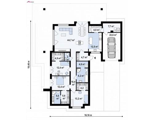 Проект Z279 Одноэтажный дом с каменной облицовкой фасадов  Проекты домов и гаражей