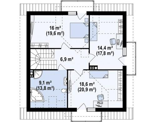 Проект Z28 v2 Версия проекта Z28 с небольшими изменениями в планировке, современным дизайном фасадов.  Проекты домов и гаражей