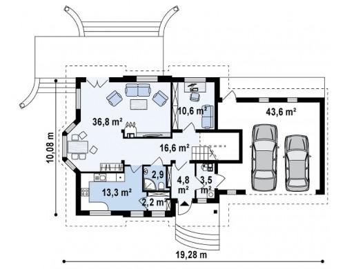 Проект Z28 L GP2 Версия проект Z28 в зеркальном отображении, с гаражом на два авто.  Проекты домов и гаражей