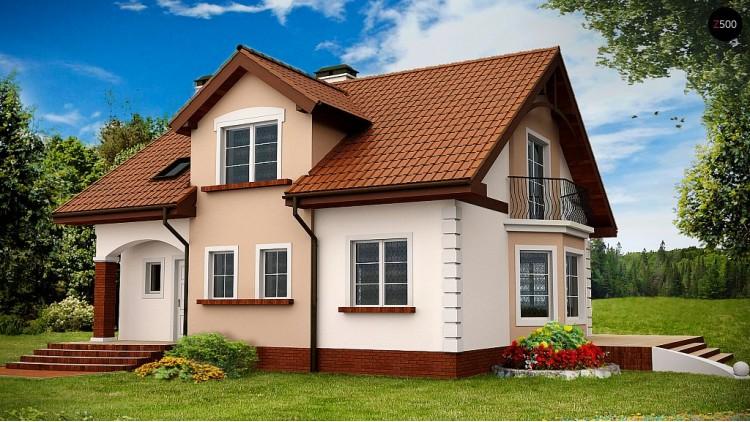 Проект элегантного дома с мансардой, эркером и балконом над ним - Z28