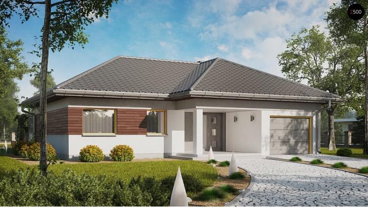 Проект одноэтажного дома с выделенной дневной зоной и большой террасой - Z280
