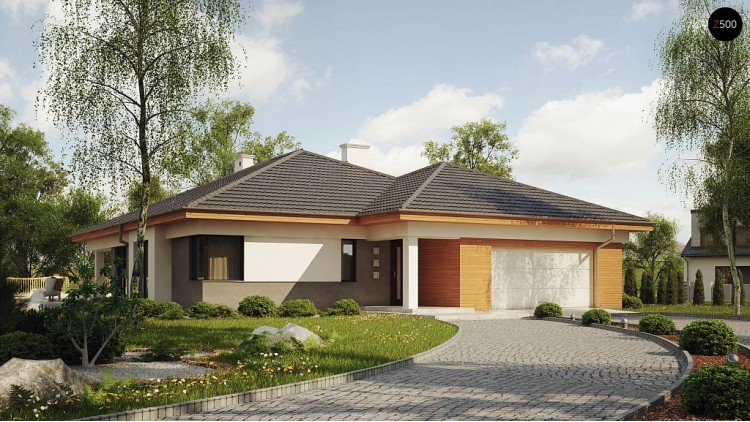 Проект дома с эркером и крытой террасой - Z281