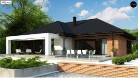 Проект Z282 Одноэтажный коттедж со сложной кровлей и большой комфортной террасой  Проекты домов и гаражей