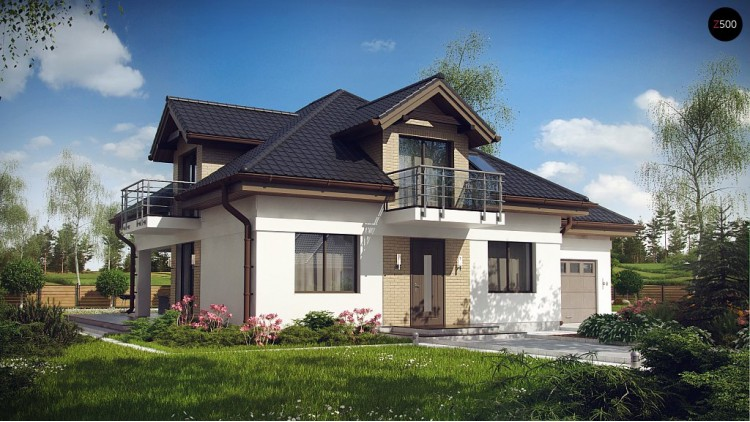 Проект дома с мансардой, с кабинетом на первом этаже и гаражом - Z283