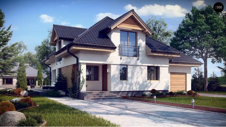 Проект дома привлекательного дизайна с дополнительной комнатой над гаражом - Z284