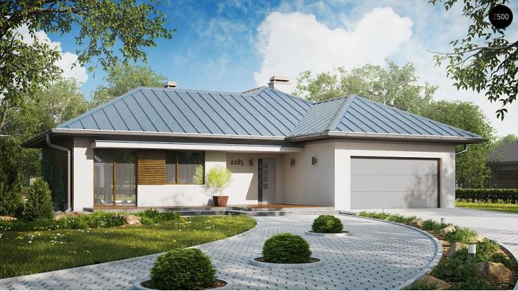 Проект удобного одноэтажного дома с большой угловой террасой - Z285