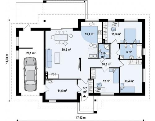 Проект одноэтажного дома с двускатной кровлей, с тремя спальнями и гаражом - Z287