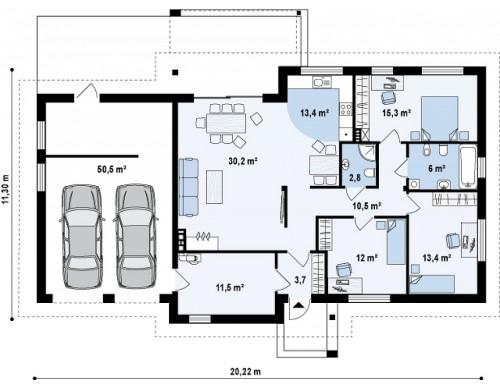 Проект Z287 GL2 Версия проекта Z287 c большим гаражным помещением.  Проекты домов и гаражей