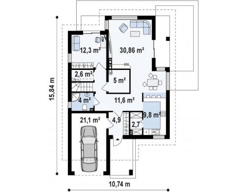Проект дома с необычными мансардными окнами, фронтальным гаражом и современным фасадом - Z288
