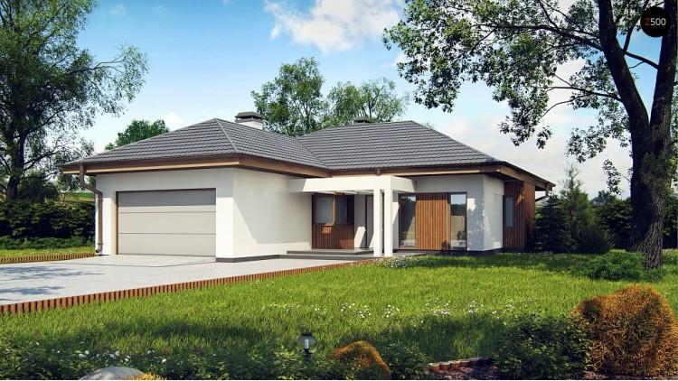 Одноэтажный дом с многоскатной крышей, с удобным функциональным интерьером - Z289