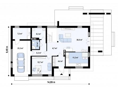Проект двухэтажного дома с террасой на втором этаже и современном стиле - Z29