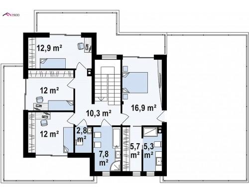 Проект Z291 Коттедж в современном стиле с гаражом на две машины и террасой на втором этаже  Проекты домов и гаражей