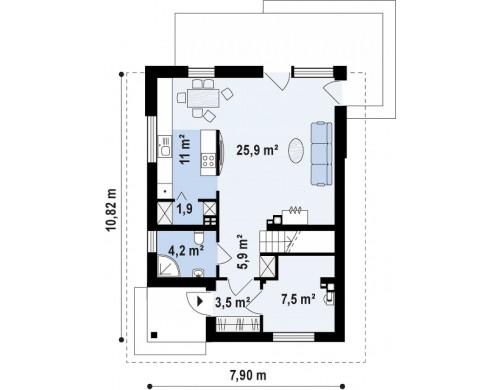 Проект Z295 k Проект компактного, функционального дома, с кирпичной облицовкой фасадов.  Проекты домов и гаражей