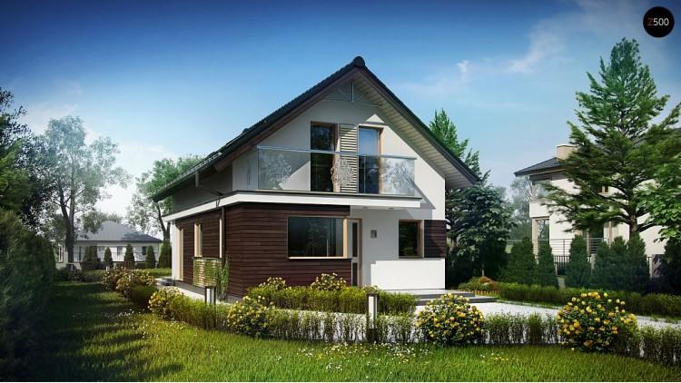 Проект аккуратного дома с мансардой, также для узкого участка - Z296