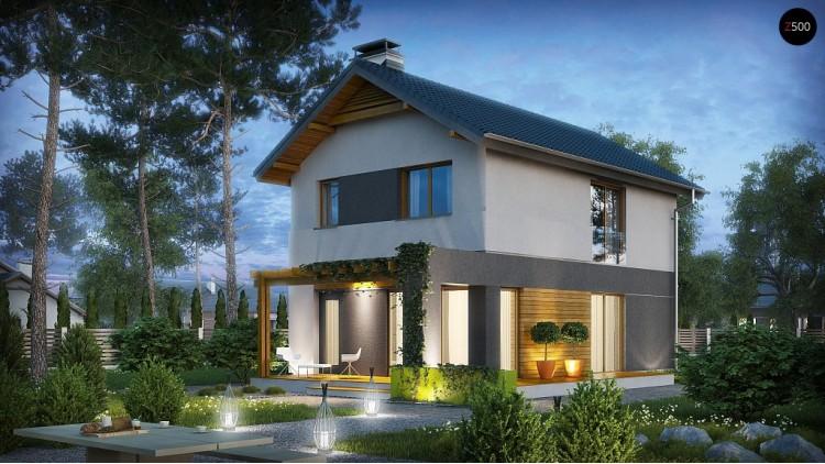 Небольшой двухэтажный дом с современными архитектурными элементами, подходящий для узкого участка - Z297
