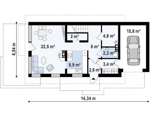 Практичный и уютный дом с оригинальным оформлением фасадов, идеальный для неглубокого участка - Z298