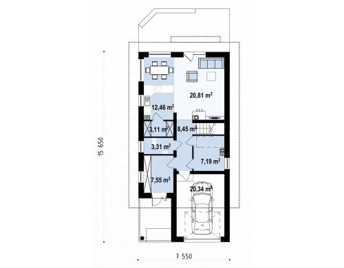 Дом простой формы с двускатной кровлей, с террасой над гаражом, также для узкого участка - Z299