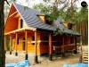 Проект деревянного дома с мансардой, с крытой террасой и внешним камином -Z30