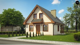 Проект Z30 L bl Проект компактного дома с мансардой с двускатной крышей  Проекты домов и гаражей