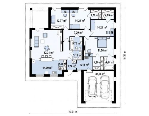 Проект Z301 Комфортный одноэтажный дом с большой террасой.  Проекты домов и гаражей