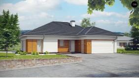 Проект Z303 Комфортный одноэтажный дом, в каждой спальне собственная ванная комната.  Проекты домов и гаражей