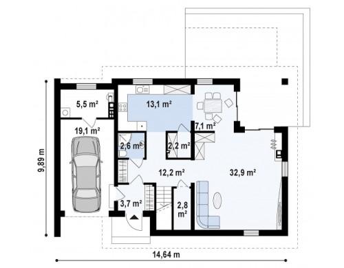Проект Z305 Дом с мансардой с гаражом с левой стороны для одной машины.  Проекты домов и гаражей