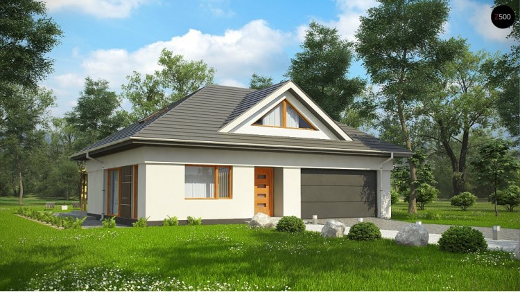 Проект Z306 Функциональный, уютный дом с эффектными фасадными окнами на мансарде.  Проекты домов и гаражей