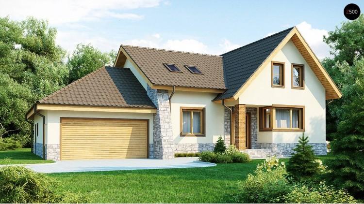 Проект традиционного дома с гаражом для двух машин и боковой террасой - Z31