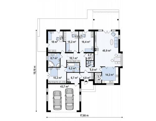 Проект Z311 Удобный функциональный одноэтажный дом с гаражом для двух автомобилей.  Проекты домов и гаражей