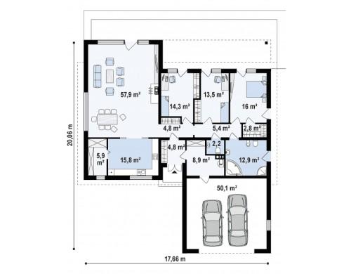 Проект Z312 Комфортный функциональный одноэтажный дом простой формы и с гаражом для двух авто.  Проекты домов и гаражей