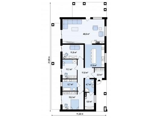 Проект Z314 bg Проект для узкого участка без гаража с тремя спальнями  Проекты домов и гаражей