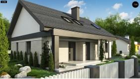 Проект Z316 p Вариант проекта Z316 с обустроенной мансардой и двускатной кровлей.  Проекты домов и гаражей