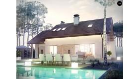 Проект Z318 Дом с двускатной кровлей, с гаражом для одного автомобиля.  Проекты домов и гаражей