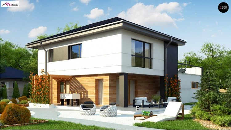 Проект Z319 Проект двухэтажного коттеджа с низкой четырехскатной кровлей и большой террасой на втором этаже  Проекты домов и гаражей