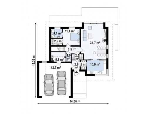 Проект Z320 Мансардный дом для большой семьи с гаражом, рассчитанным на две машины  Проекты домов и гаражей